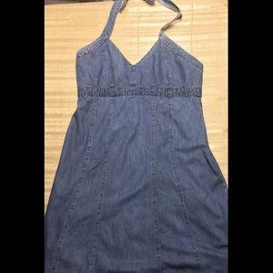 Old Navy Blue Denim Halter Dress Size 20